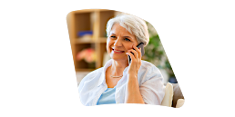 Lady using telephone to contact us